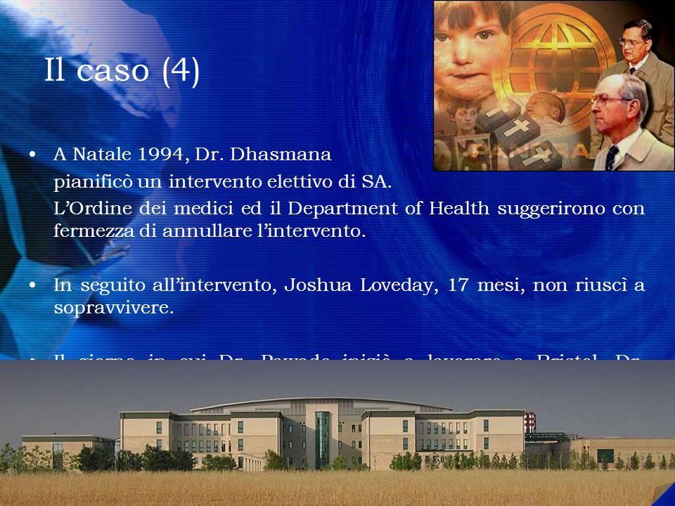 Il caso (4) A Natale 1994, Dr. Dhasmana pianificò un intervento elettivo di SA. LOrdine dei medici ed il Department of Health suggerirono con fermezza