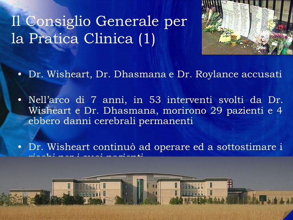 Il Consiglio Generale per la Pratica Clinica (1) Dr. Wisheart, Dr. Dhasmana e Dr. Roylance accusati Nellarco di 7 anni, in 53 interventi svolti da Dr.