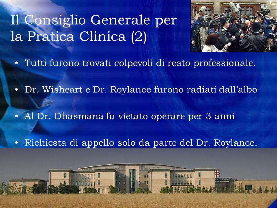 Tutti furono trovati colpevoli di reato professionale. Dr. Wisheart e Dr. Roylance furono radiati dallalbo Al Dr. Dhasmana fu vietato operare per 3 an