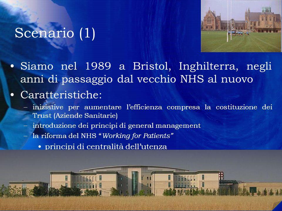 Scenario (1) Siamo nel 1989 a Bristol, Inghilterra, negli anni di passaggio dal vecchio NHS al nuovo Caratteristiche: –iniziative per aumentare leffic