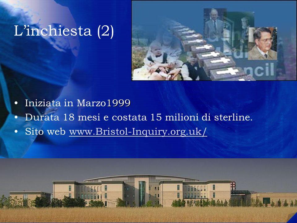 Linchiesta (2) 1999Iniziata in Marzo1999 Durata 18 mesi e costata 15 milioni di sterline. Sito web www.Bristol-Inquiry.org.uk/www.Bristol-Inquiry.org.