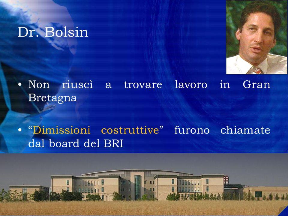 Dr. Bolsin Non riuscì a trovare lavoro in Gran Bretagna Dimissioni costruttive furono chiamate dal board del BRI Adesso lavora al Geelong Hospital in