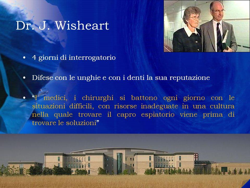 Dr. J. Wisheart 4 giorni di interrogatorio Difese con le unghie e con i denti la sua reputazione I medici, i chirurghi si battono ogni giorno con le s