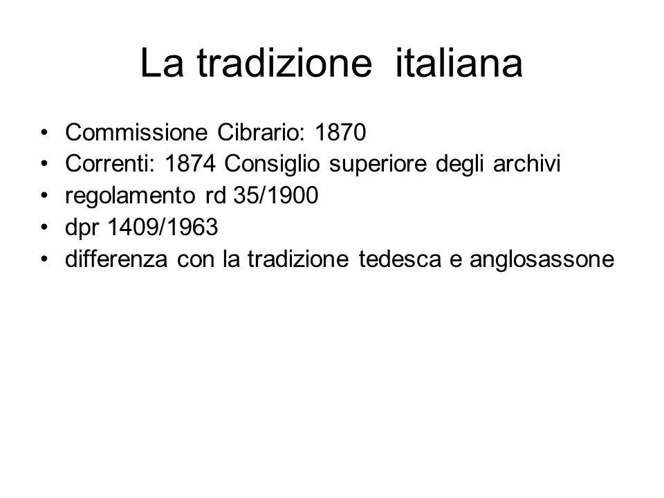 La tradizione italiana Commissione Cibrario: 1870 Correnti: 1874 Consiglio superiore degli archivi regolamento rd 35/1900 dpr 1409/1963 differenza con