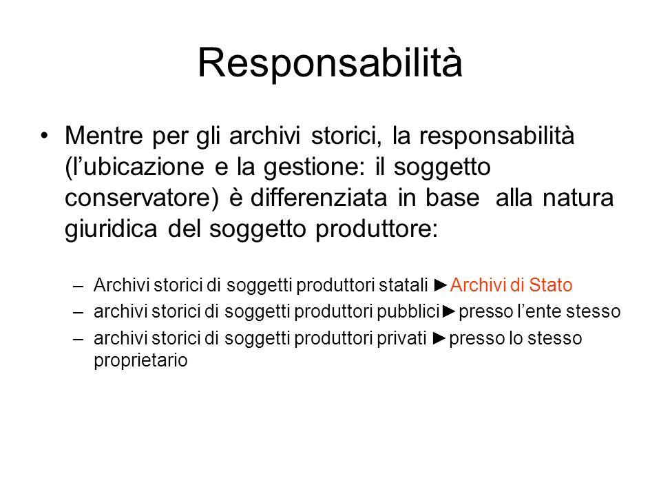 Responsabilità Mentre per gli archivi storici, la responsabilità (lubicazione e la gestione: il soggetto conservatore) è differenziata in base alla na