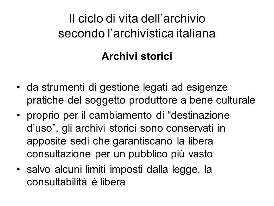 Il ciclo di vita dellarchivio secondo larchivistica italiana Archivi storici da strumenti di gestione legati ad esigenze pratiche del soggetto produtt