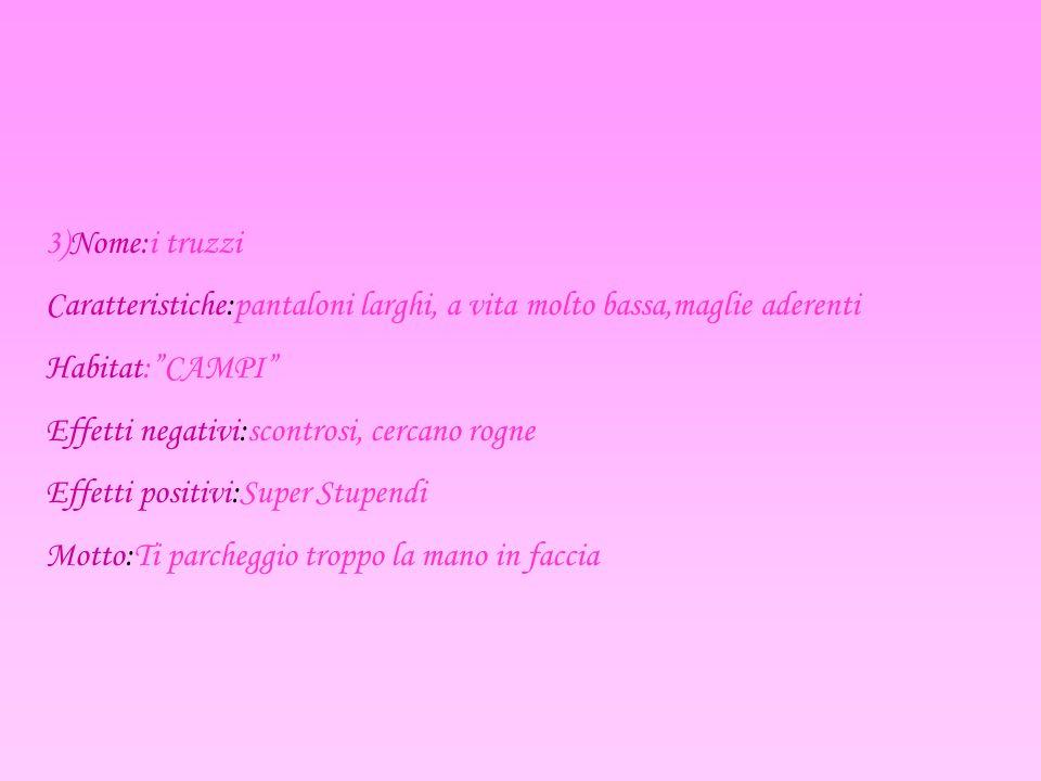 4)Nome:I punk Caratteristiche:vestiti stretti Habitat:Garage Effetti negativi:Nessuno Effetti positivi:molto spesso suonano.