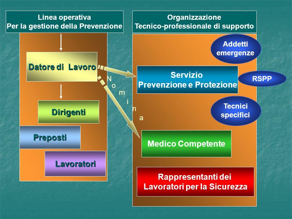 Organizzazione Tecnico-professionale di supporto Linea operativa Per la gestione della Prevenzione Datore di Lavoro Datore di Lavoro Dirigenti Servizio Prevenzione e Protezione Medico Competente Rappresentanti dei Lavoratori per la Sicurezza Preposti Lavoratori Addetti emergenze RSPP Tecnici specifici N o m i n a