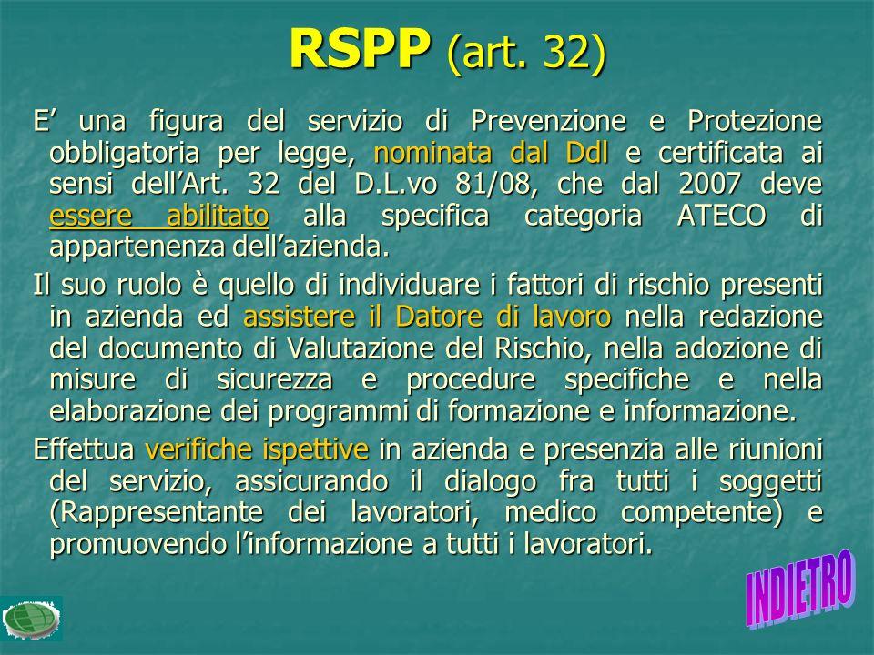 Il servizio di Prevenzione e Protezione dai rischi svolge attività di supporto al Datore di lavoro e consulenza interna in materia di valutazione dei
