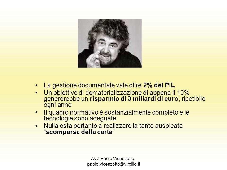Avv. Paolo Vicenzotto - paolo.vicenzotto@virgilio.it La gestione documentale vale oltre 2% del PIL Un obiettivo di dematerializzazione di appena il 10