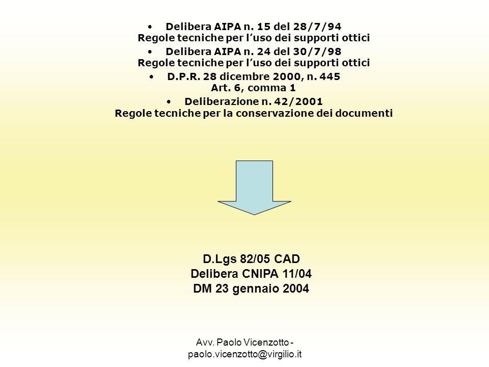 Avv. Paolo Vicenzotto - paolo.vicenzotto@virgilio.it Delibera AIPA n. 15 del 28/7/94 Regole tecniche per luso dei supporti ottici Delibera AIPA n. 24