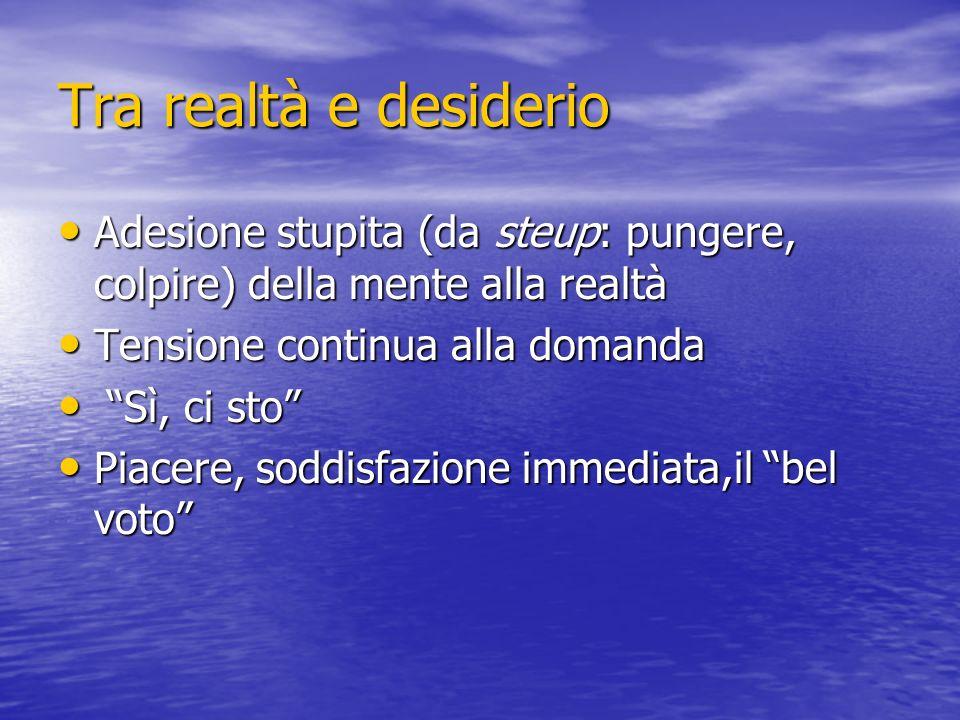 Tra realtà e desiderio Adesione stupita (da steup: pungere, colpire) della mente alla realtà Adesione stupita (da steup: pungere, colpire) della mente