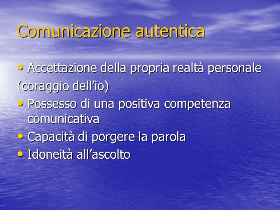 Comunicazione autentica Accettazione della propria realtà personale Accettazione della propria realtà personale (coraggio dellio) Possesso di una posi