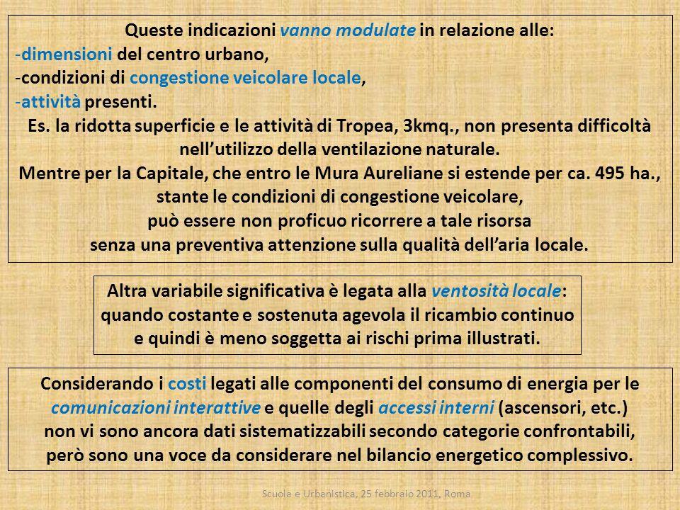 Scuola e Urbanistica, 25 febbraio 2011, Roma Queste indicazioni vanno modulate in relazione alle: -dimensioni del centro urbano, -condizioni di conges