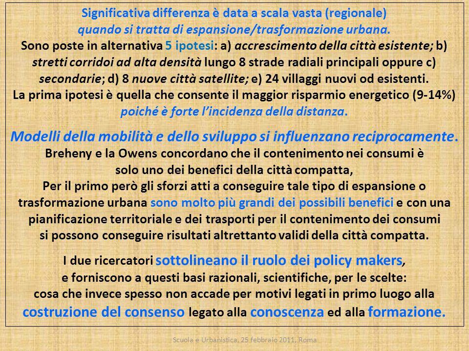 Scuola e Urbanistica, 25 febbraio 2011, Roma Significativa differenza è data a scala vasta (regionale) quando si tratta di espansione/trasformazione u