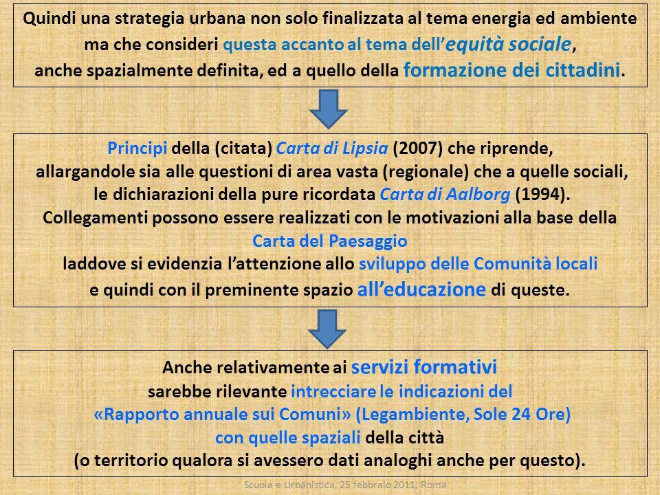 Scuola e Urbanistica, 25 febbraio 2011, Roma Principi della (citata) Carta di Lipsia (2007) che riprende, allargandole sia alle questioni di area vast