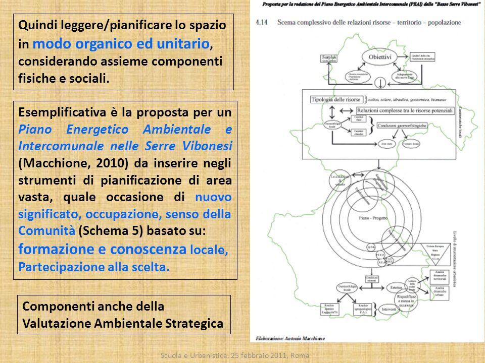 Scuola e Urbanistica, 25 febbraio 2011, Roma Esemplificativa è la proposta per un Piano Energetico Ambientale e Intercomunale nelle Serre Vibonesi (Ma