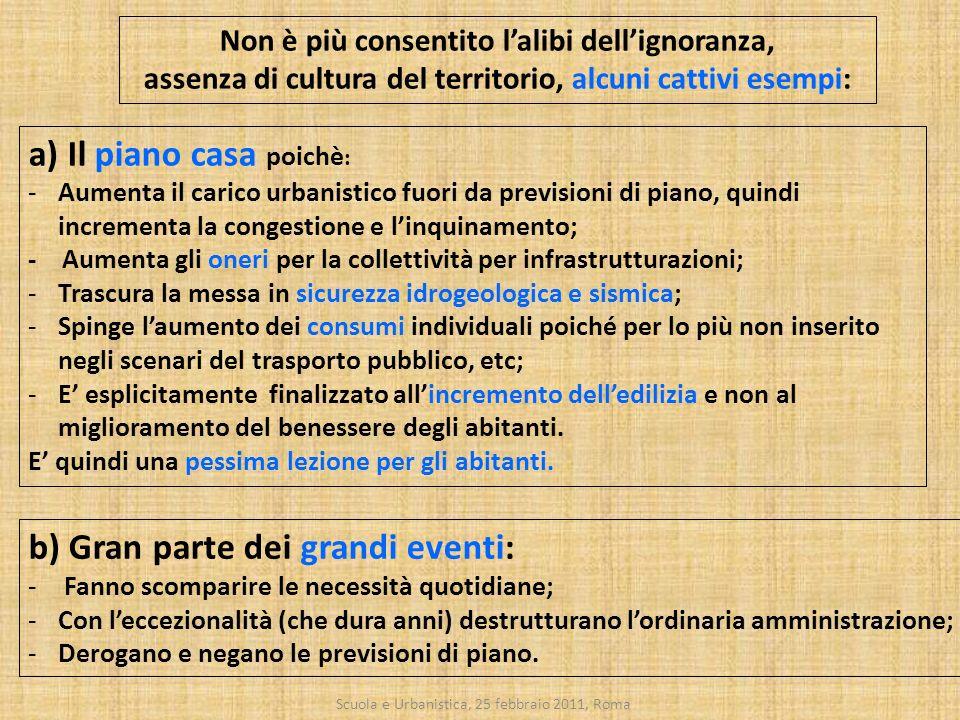 Scuola e Urbanistica, 25 febbraio 2011, Roma a) Il piano casa poichè : -Aumenta il carico urbanistico fuori da previsioni di piano, quindi incrementa