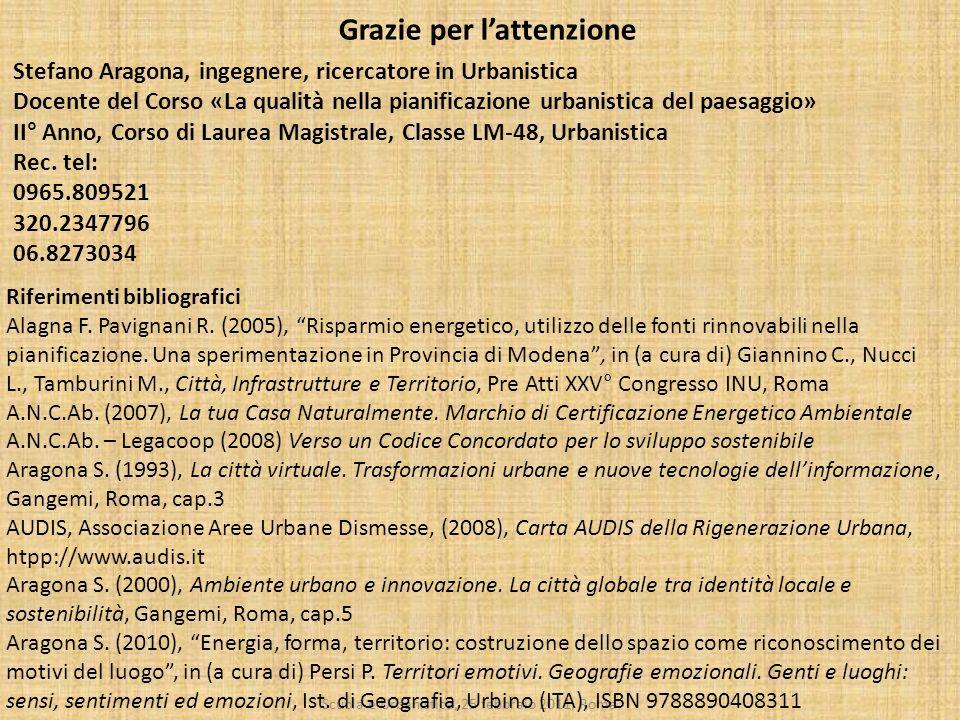 Scuola e Urbanistica, 25 febbraio 2011, Roma Grazie per lattenzione Stefano Aragona, ingegnere, ricercatore in Urbanistica Docente del Corso «La quali