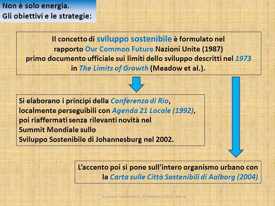 Scuola e Urbanistica, 25 febbraio 2011, Roma Il concetto di sviluppo sostenibile è formulato nel rapporto Our Common Future Nazioni Unite (1987) primo