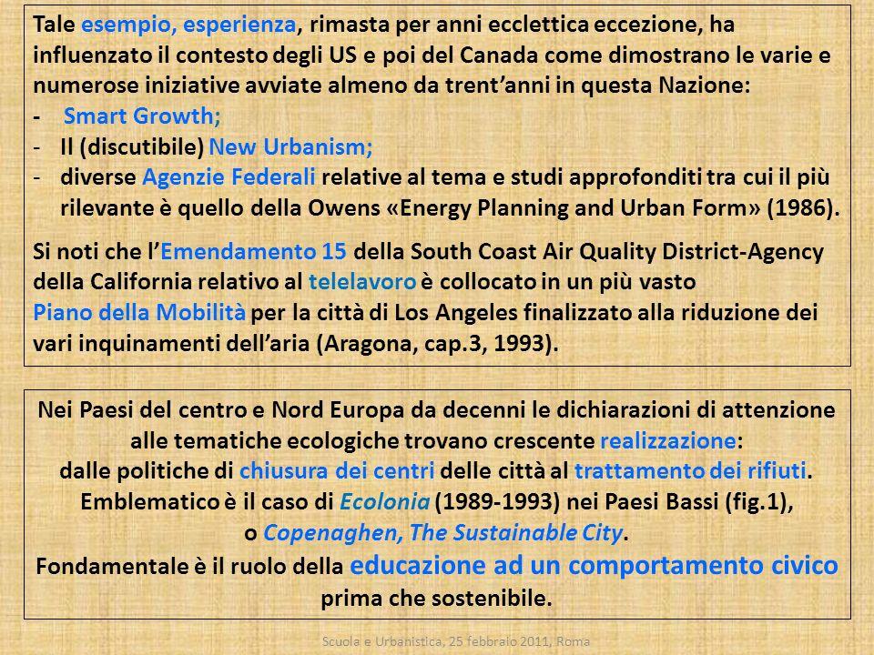 Scuola e Urbanistica, 25 febbraio 2011, Roma Tale esempio, esperienza, rimasta per anni ecclettica eccezione, ha influenzato il contesto degli US e po