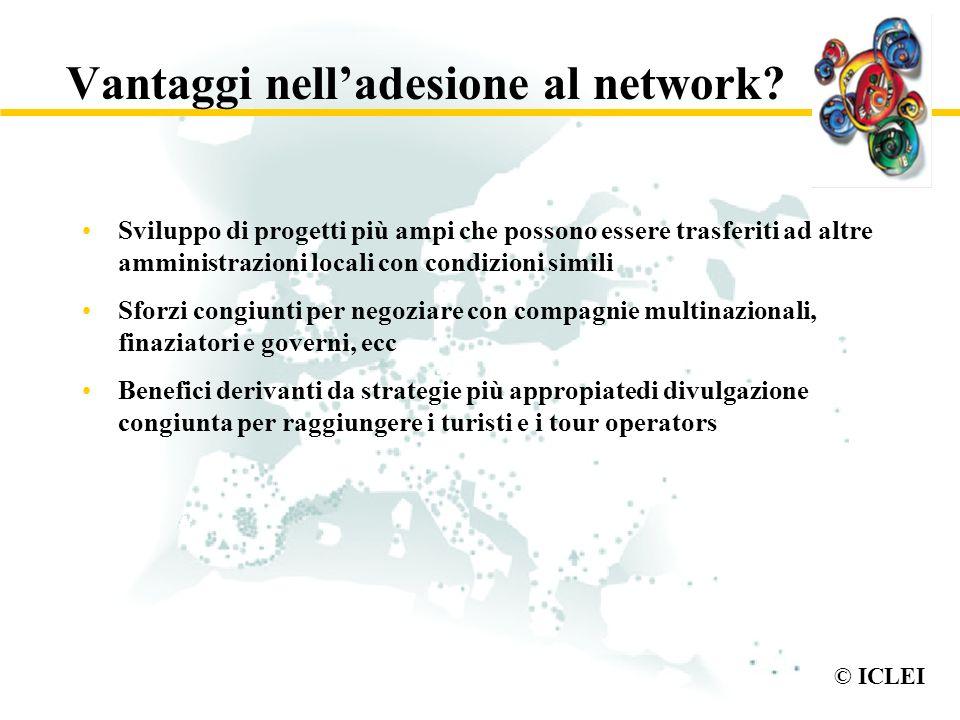 © ICLEI Vantaggi nelladesione al network? Sviluppo di progetti più ampi che possono essere trasferiti ad altre amministrazioni locali con condizioni s