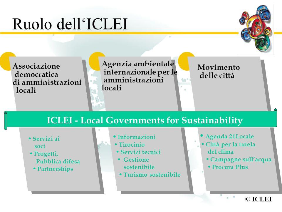 © ICLEI Ruolo dellICLEI Associazione democratica di amministrazioni locali Agenzia ambientale internazionale per le amministrazioni locali Movimento d