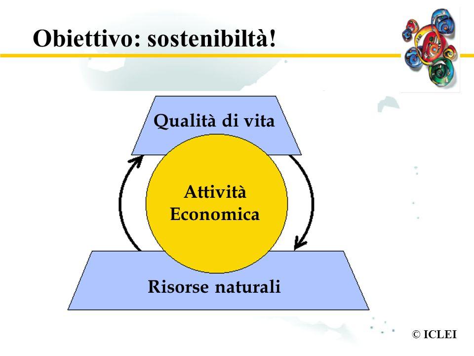 © ICLEI Obiettivo: sostenibiltà! Qualità di vita Attività Economica Risorse naturali
