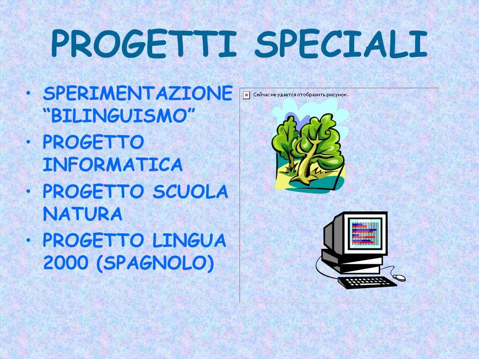 PROGETTI SPECIALI SPERIMENTAZIONE BILINGUISMO PROGETTO INFORMATICA PROGETTO SCUOLA NATURA PROGETTO LINGUA 2000 (SPAGNOLO)