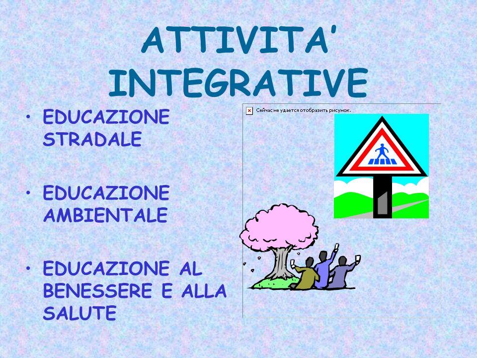 ATTIVITA INTEGRATIVE EDUCAZIONE STRADALE EDUCAZIONE AMBIENTALE EDUCAZIONE AL BENESSERE E ALLA SALUTE