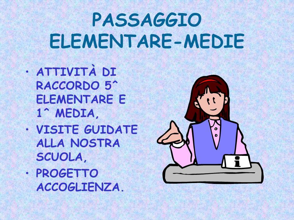 PASSAGGIO ELEMENTARE-MEDIE ATTIVITÀ DI RACCORDO 5^ ELEMENTARE E 1^ MEDIA, VISITE GUIDATE ALLA NOSTRA SCUOLA, PROGETTO ACCOGLIENZA.