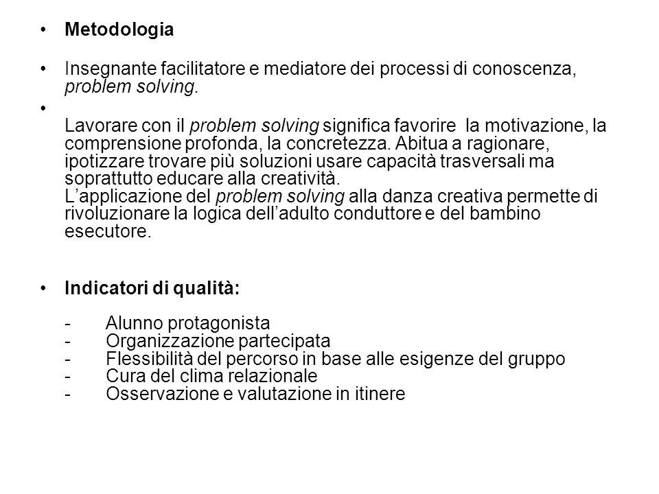 Metodologia Insegnante facilitatore e mediatore dei processi di conoscenza, problem solving. Lavorare con il problem solving significa favorire la mot