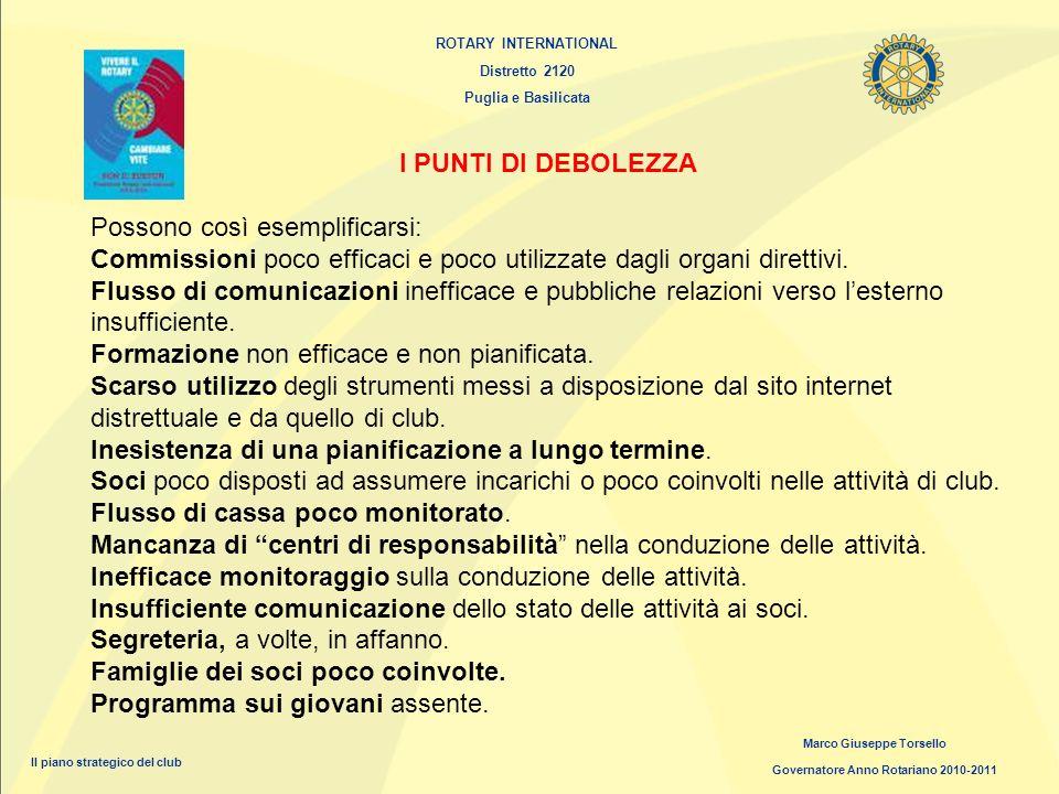 ROTARY INTERNATIONAL Distretto 2120 Puglia e Basilicata Marco Giuseppe Torsello Governatore Anno Rotariano 2010-2011 Il piano strategico del club I PU