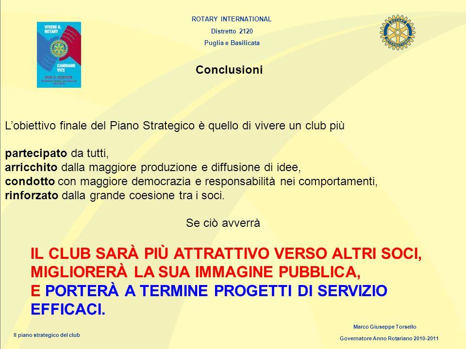 ROTARY INTERNATIONAL Distretto 2120 Puglia e Basilicata Marco Giuseppe Torsello Governatore Anno Rotariano 2010-2011 Il piano strategico del club Conc