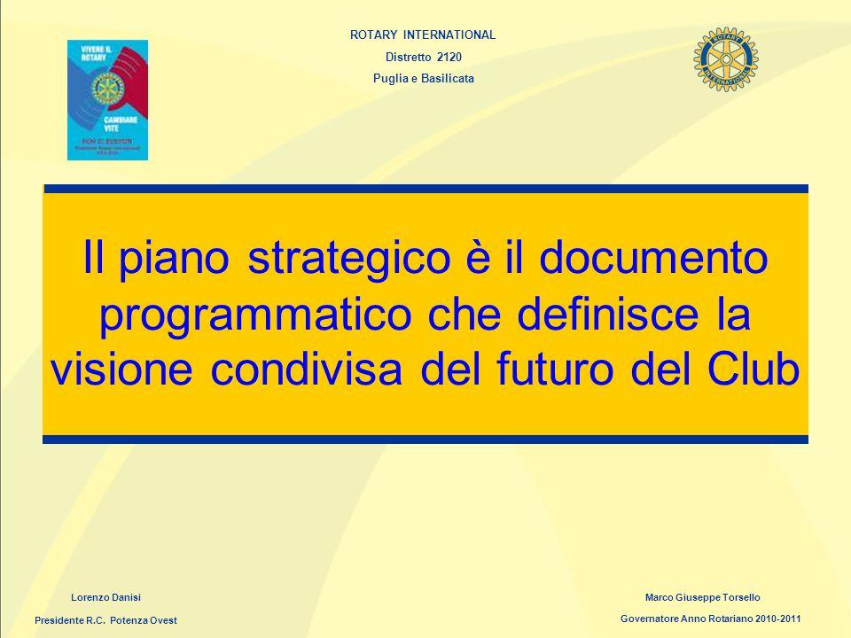 ROTARY INTERNATIONAL Distretto 2120 Puglia e Basilicata Il piano strategico è il documento programmatico che definisce la visione condivisa del futuro