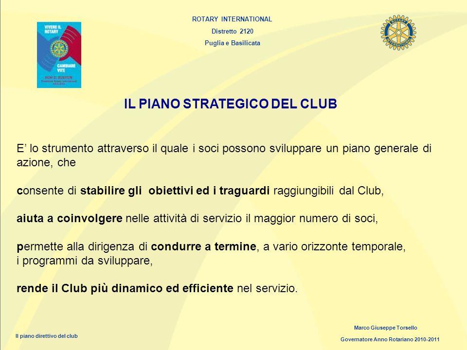 ROTARY INTERNATIONAL Distretto 2120 Puglia e Basilicata Marco Giuseppe Torsello Governatore Anno Rotariano 2010-2011 Il piano direttivo del club IL PI