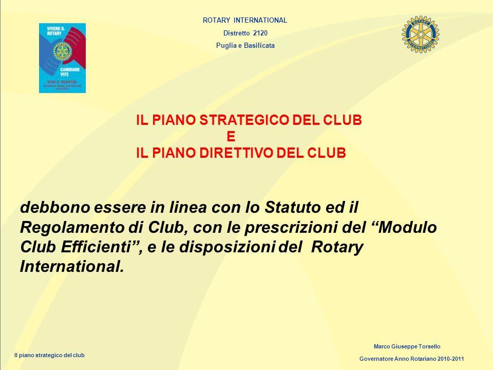 ROTARY INTERNATIONAL Distretto 2120 Puglia e Basilicata Marco Giuseppe Torsello Governatore Anno Rotariano 2010-2011 IL PIANO STRATEGICO DEL CLUB E IL