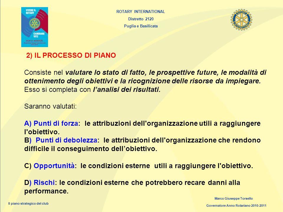 ROTARY INTERNATIONAL Distretto 2120 Puglia e Basilicata Marco Giuseppe Torsello Governatore Anno Rotariano 2010-2011 Il piano strategico del club 2) I