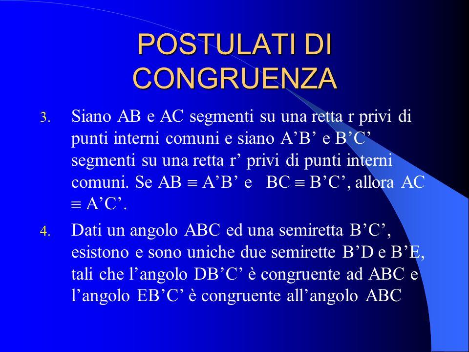 POSTULATI DI CONGRUENZA 3. Siano AB e AC segmenti su una retta r privi di punti interni comuni e siano AB e BC segmenti su una retta r privi di punti