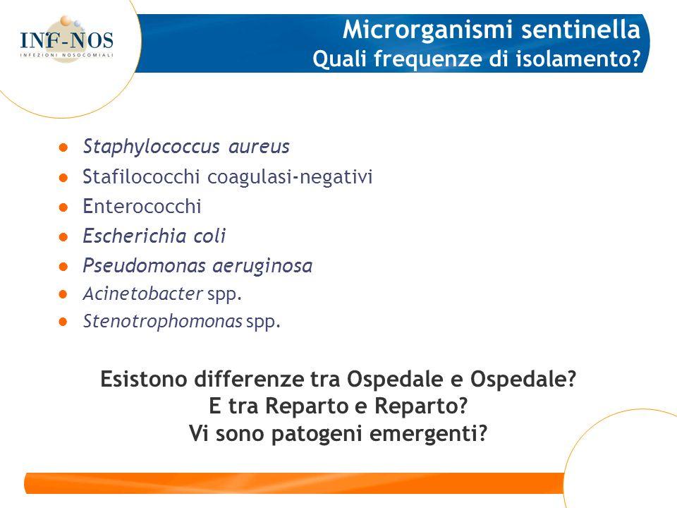 Staphylococcus aureus Stafilococchi coagulasi-negativi Enterococchi Escherichia coli Pseudomonas aeruginosa Acinetobacter spp. Stenotrophomonas spp. M