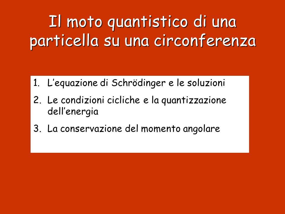 Il moto quantistico di una particella su una circonferenza 1.Lequazione di Schrödinger e le soluzioni 2.Le condizioni cicliche e la quantizzazione del