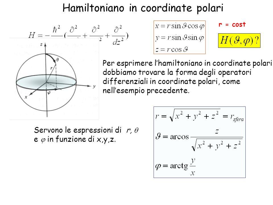 Hamiltoniano in coordinate polari Per esprimere lhamiltoniano in coordinate polari dobbiamo trovare la forma degli operatori differenziali in coordina