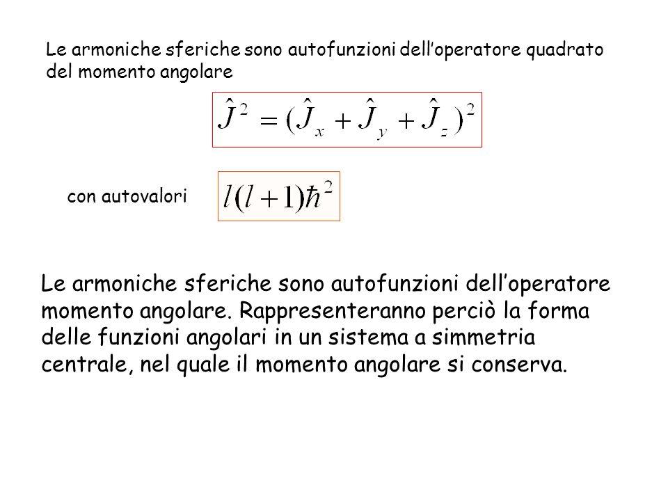 Le armoniche sferiche sono autofunzioni delloperatore quadrato del momento angolare con autovalori Le armoniche sferiche sono autofunzioni delloperato