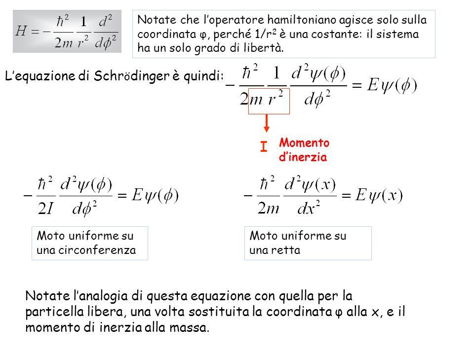 Riscriviamola così: La soluzione generale di questequazione è: Notate che la forma della funzione donda è simile a quella della particella libera, con x sostituito da φ: Moto circolare uniforme Moto rettilineo uniforme