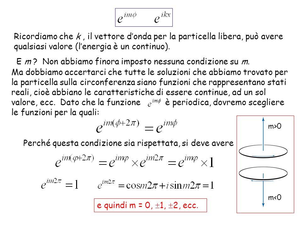 La quantizzazione dellenergia e del momento angolare Dalla condizione m = 0, 1, 2, ecc., ricordando che : Ricordate lespressione classica che lega energia e momento angolare per la particella sulla circonferenza.