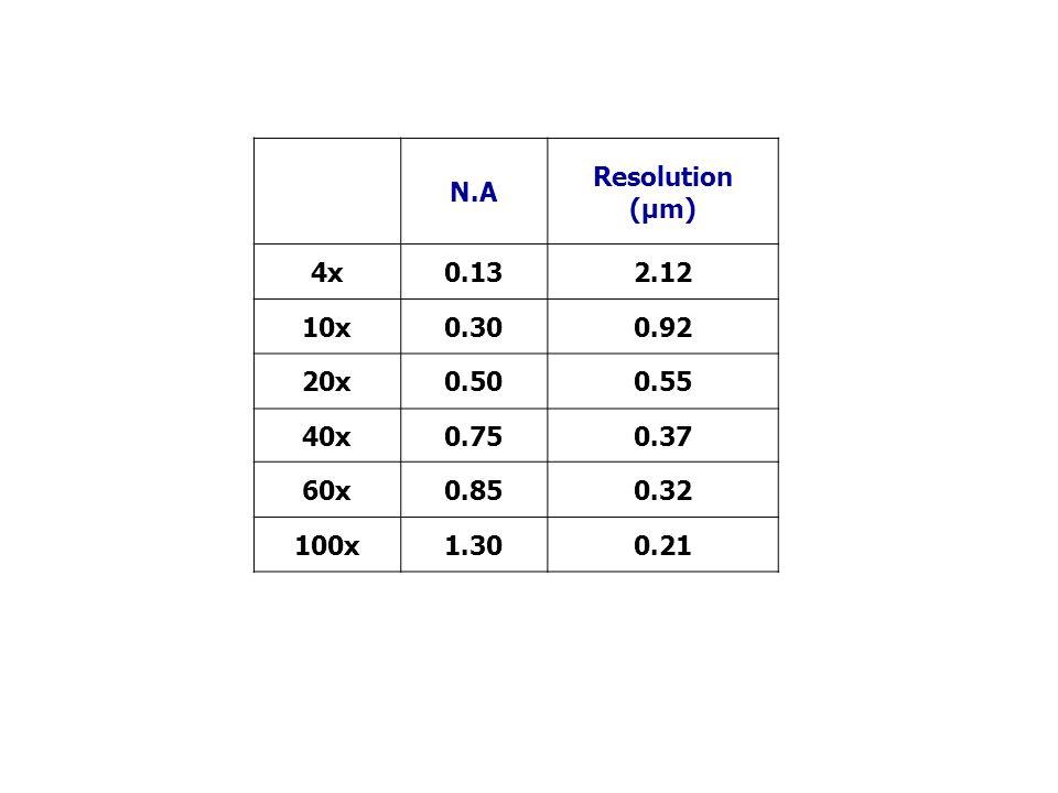 N.A Resolution (µm) 4x0.132.12 10x0.300.92 20x0.500.55 40x0.750.37 60x0.850.32 100x1.300.21