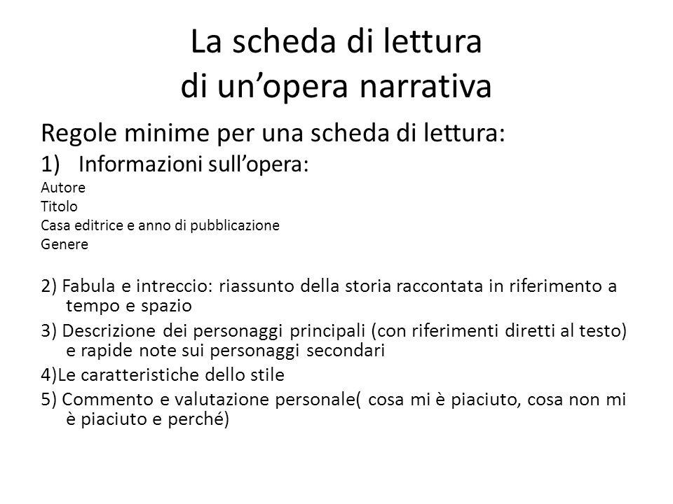 La scheda di lettura di unopera narrativa Regole minime per una scheda di lettura: 1)Informazioni sullopera: Autore Titolo Casa editrice e anno di pub