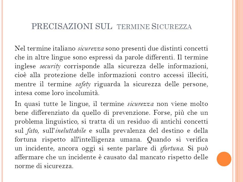 PRECISAZIONI SUL TERMINE S ICUREZZA Nel termine italiano sicurezza sono presenti due distinti concetti che in altre lingue sono espressi da parole differenti.
