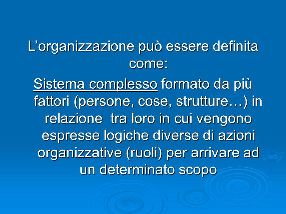 Lorganizzazione può essere definita come: Sistema complesso formato da più fattori (persone, cose, strutture…) in relazione tra loro in cui vengono espresse logiche diverse di azioni organizzative (ruoli) per arrivare ad un determinato scopo
