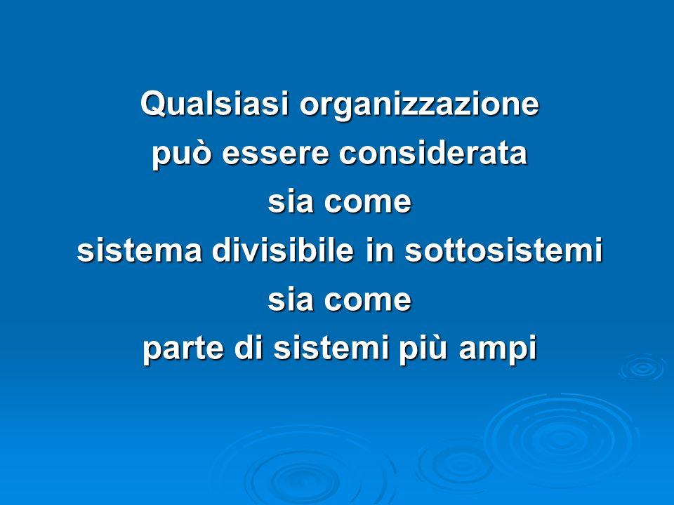 Qualsiasi organizzazione può essere considerata sia come sistema divisibile in sottosistemi sia come parte di sistemi più ampi